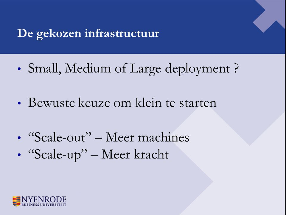 De gekozen infrastructuur
