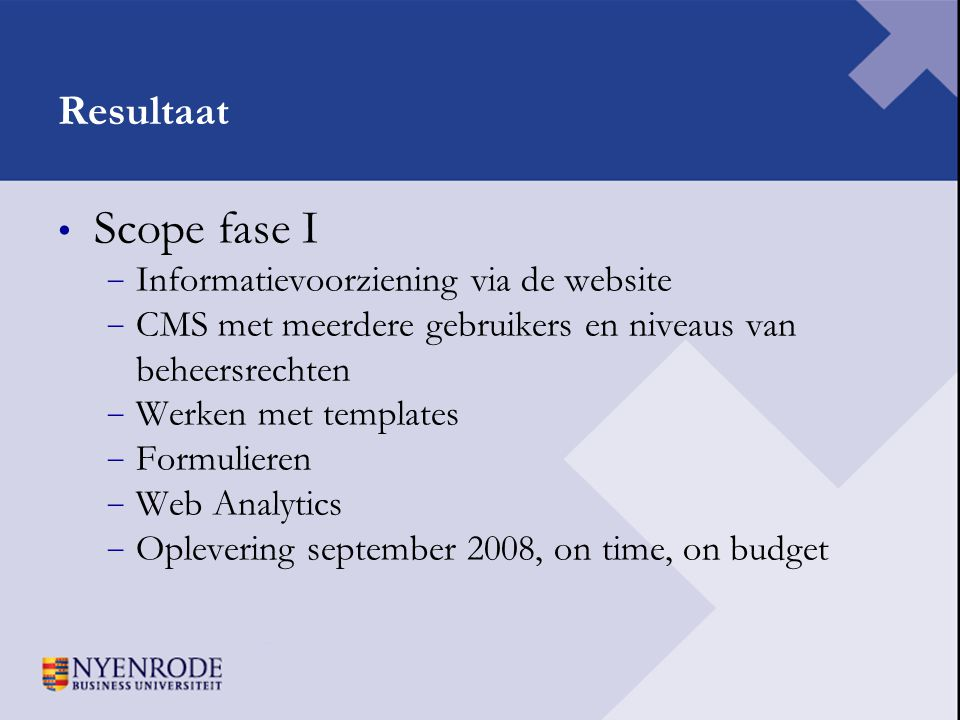 Scope fase I Resultaat Informatievoorziening via de website
