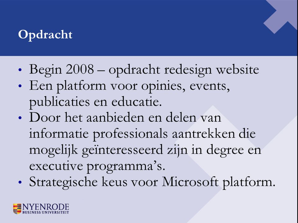 Begin 2008 – opdracht redesign website