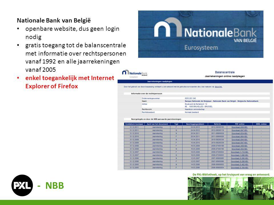 - NBB Nationale Bank van België openbare website, dus geen login nodig