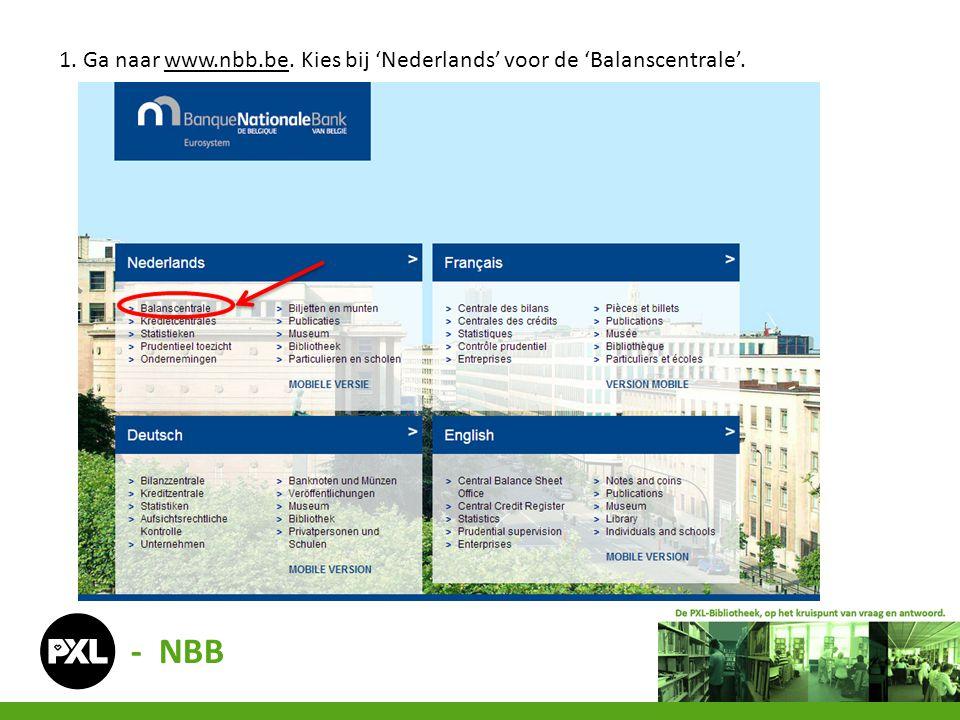 1. Ga naar www.nbb.be. Kies bij 'Nederlands' voor de 'Balanscentrale'.