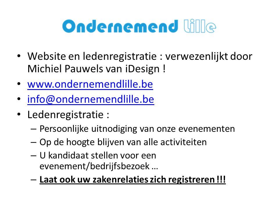 Website en ledenregistratie : verwezenlijkt door Michiel Pauwels van iDesign !