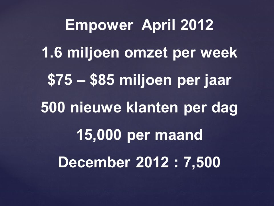 Empower April 2012 1.6 miljoen omzet per week. $75 – $85 miljoen per jaar. 500 nieuwe klanten per dag.
