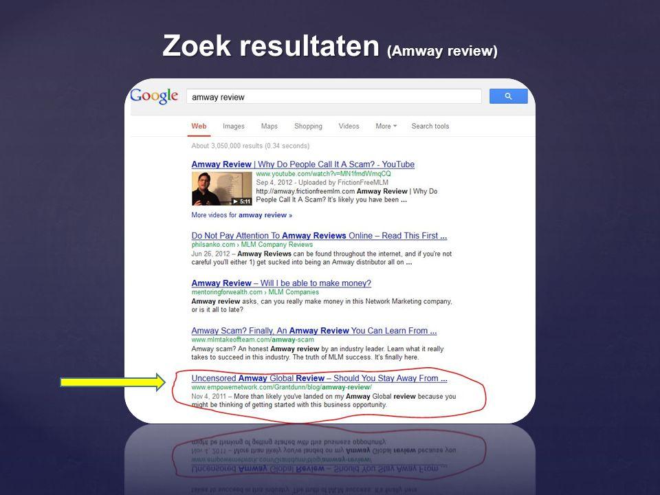 Zoek resultaten (Amway review)