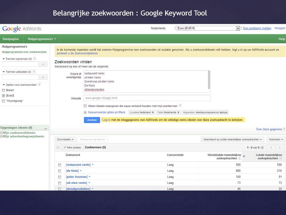 Belangrijke zoekwoorden : Google Keyword Tool