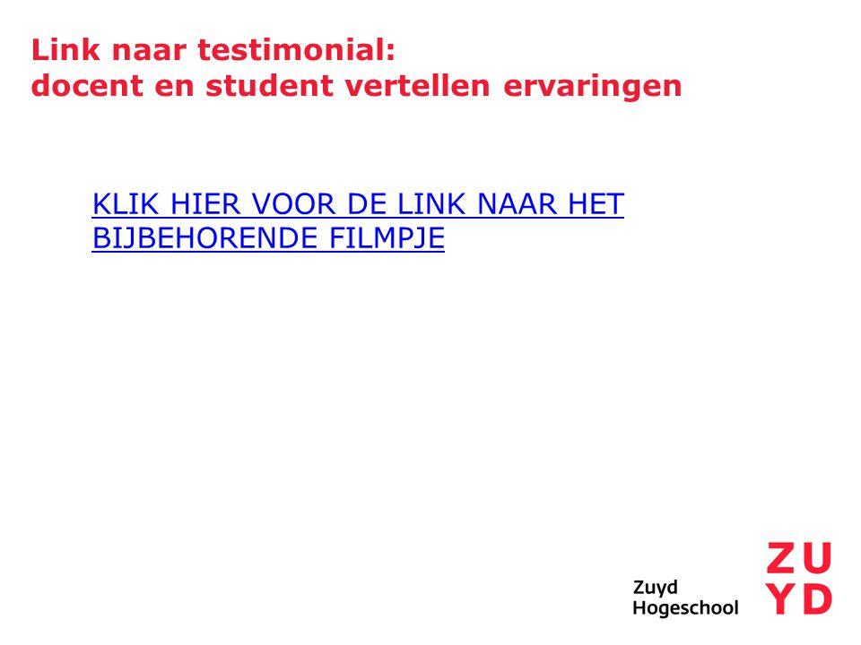 Link naar testimonial: docent en student vertellen ervaringen