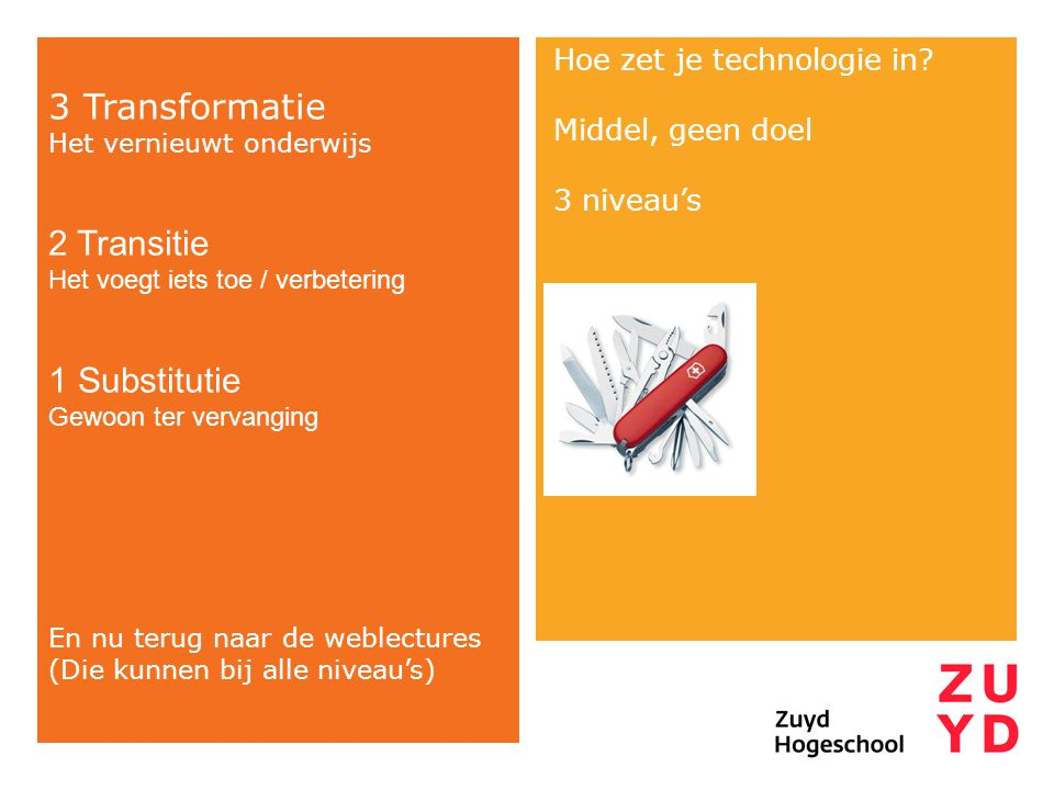 3 Transformatie 2 Transitie 1 Substitutie Hoe zet je technologie in