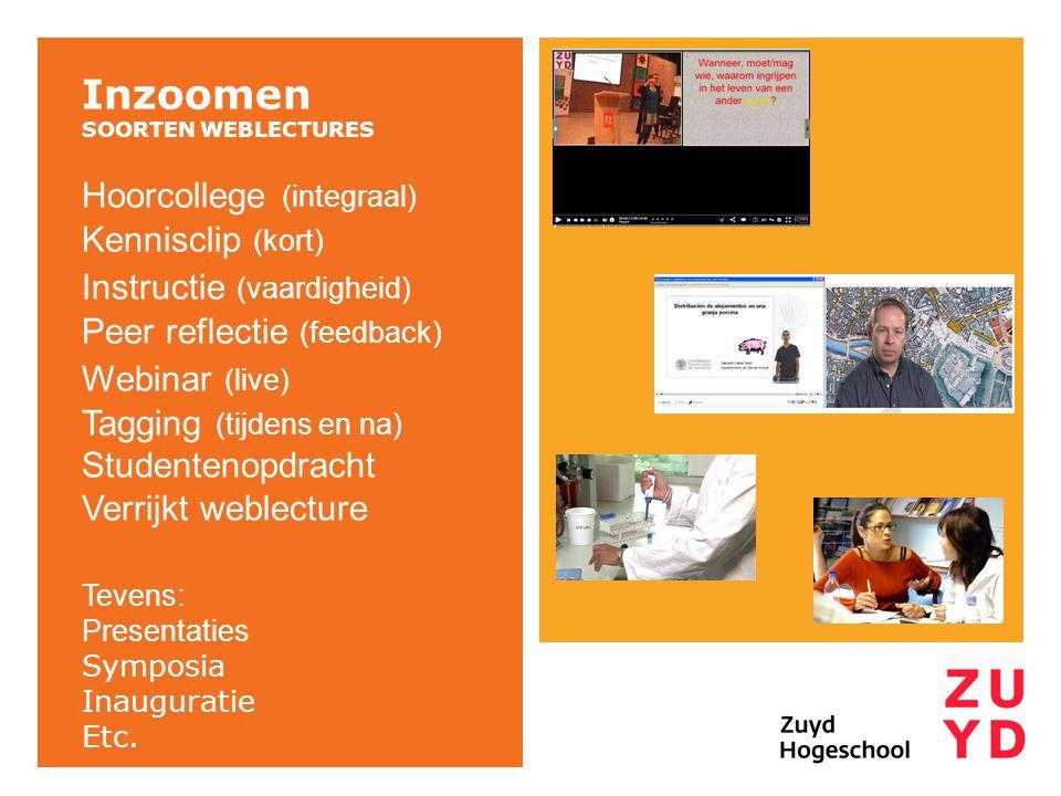 Inzoomen Hoorcollege (integraal) Kennisclip (kort)