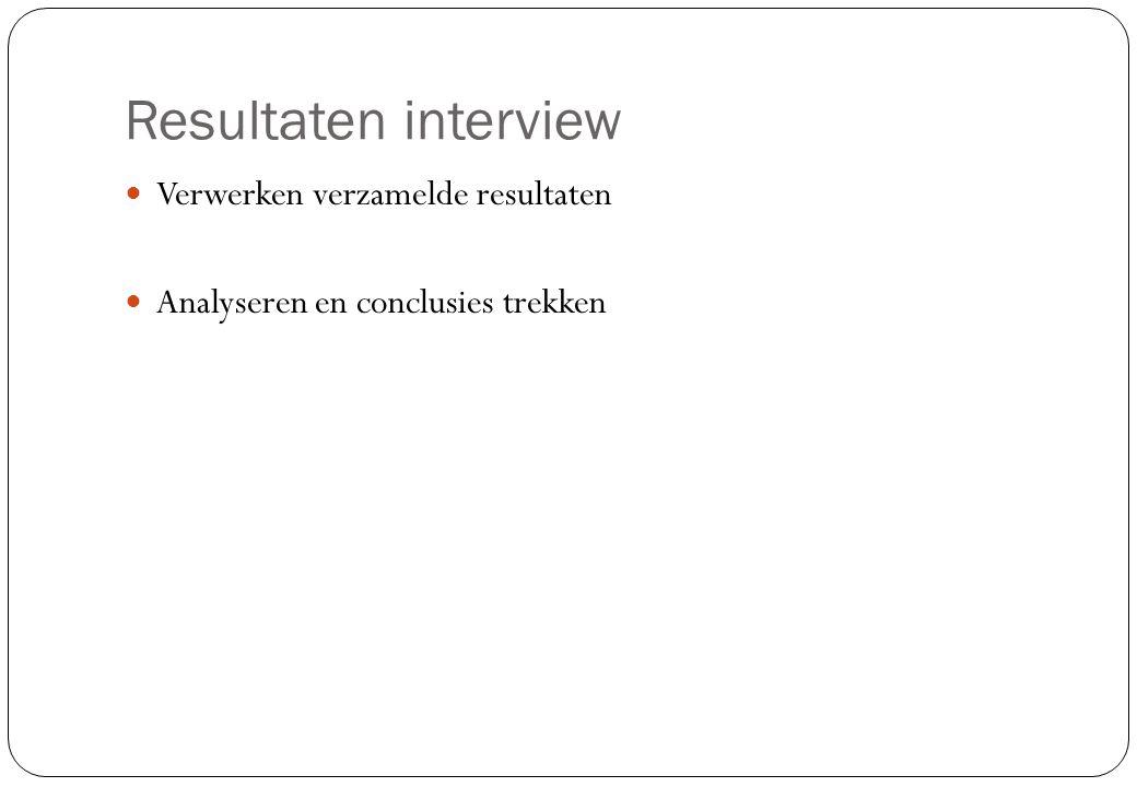 Resultaten interview Verwerken verzamelde resultaten