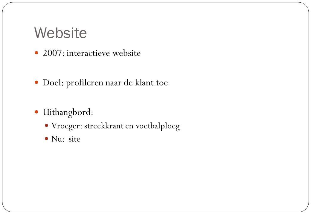 Website 2007: interactieve website Doel: profileren naar de klant toe