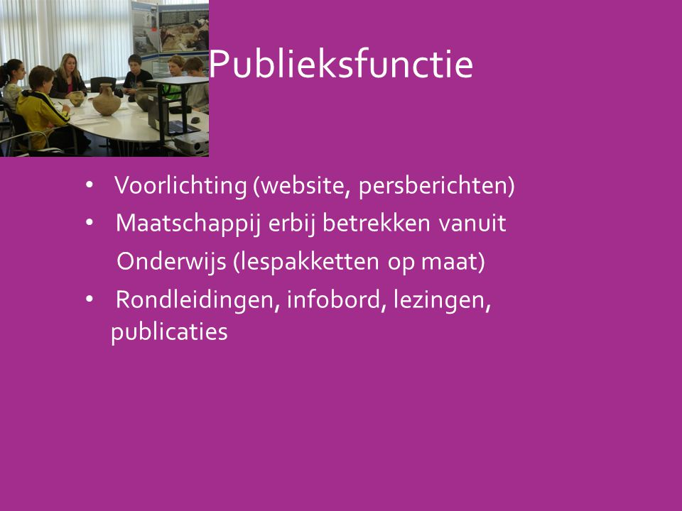 Publieksfunctie Voorlichting (website, persberichten)
