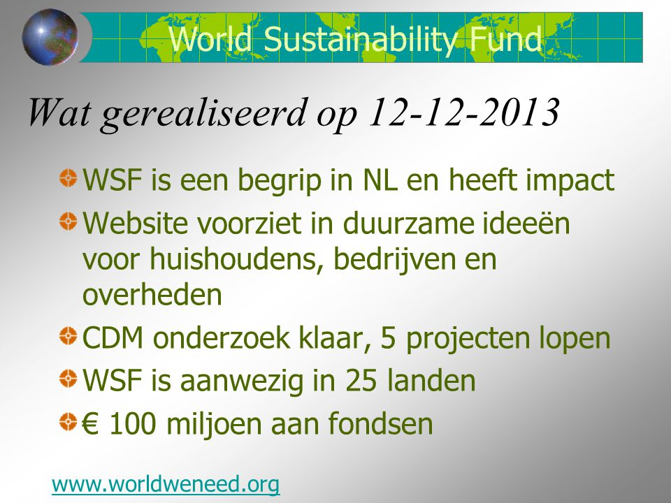 Wat gerealiseerd op 12-12-2013 World Sustainability Fund