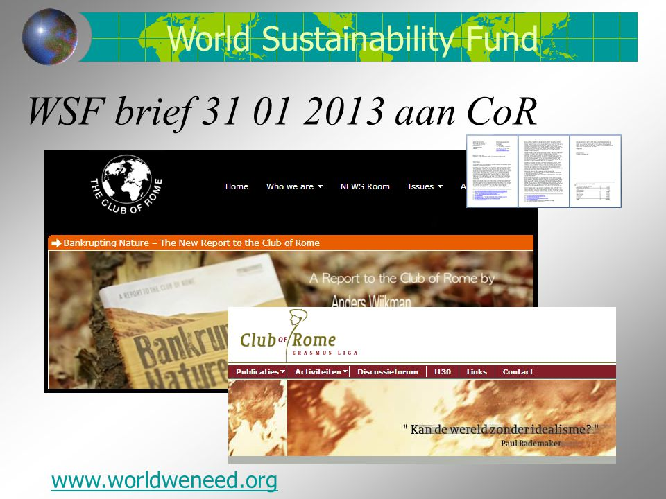 WSF brief 31 01 2013 aan CoR World Sustainability Fund