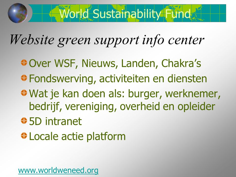 Website green support info center