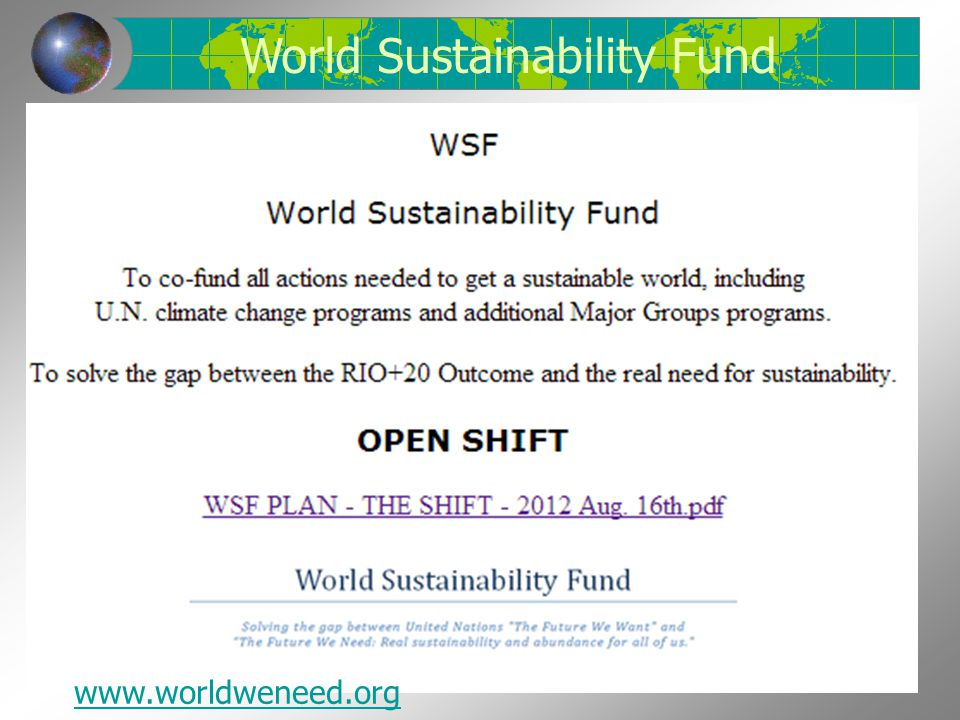 World Sustainability Fund
