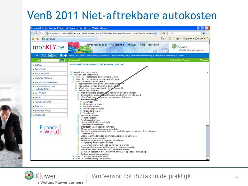 VenB 2011 Niet-aftrekbare autokosten