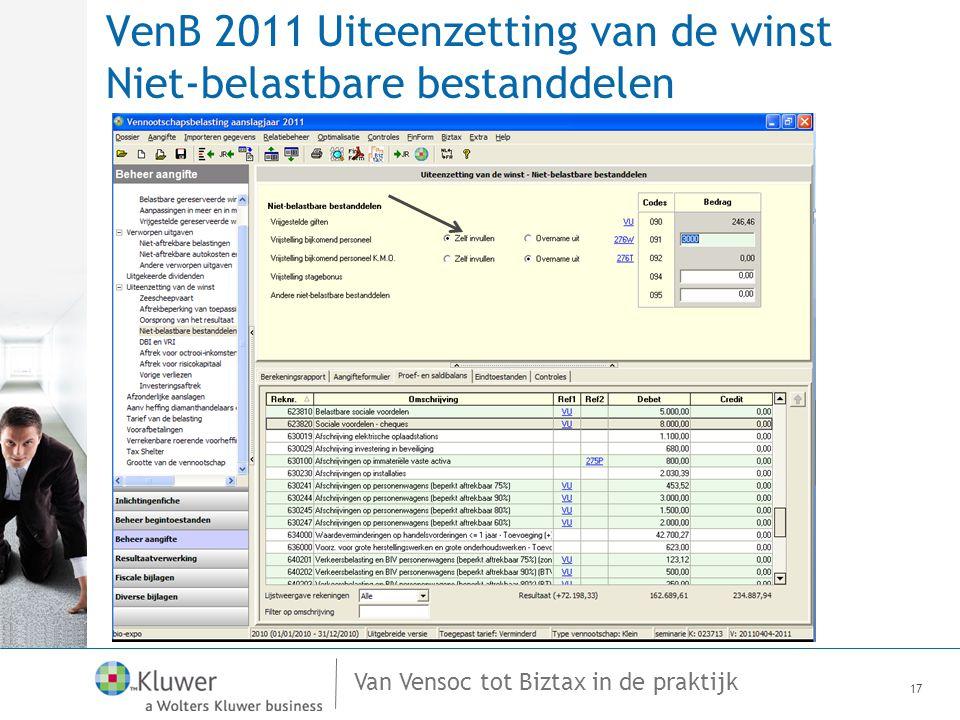 VenB 2011 Uiteenzetting van de winst Niet-belastbare bestanddelen