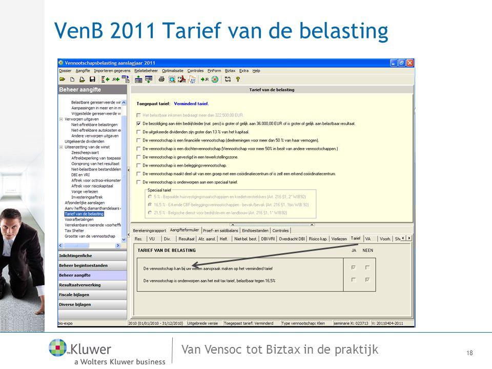 VenB 2011 Tarief van de belasting