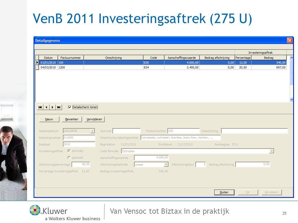 VenB 2011 Investeringsaftrek (275 U)