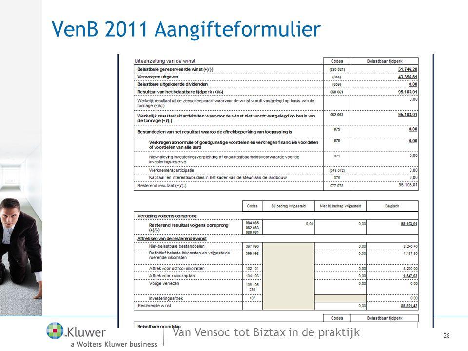 VenB 2011 Aangifteformulier
