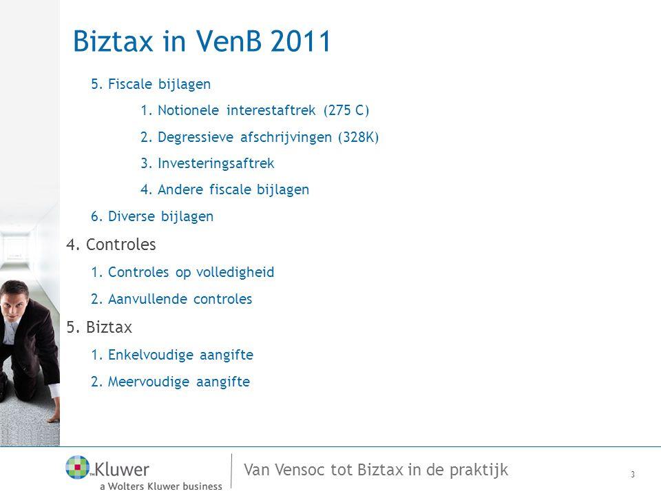 Biztax in VenB 2011 4. Controles 5. Biztax 5. Fiscale bijlagen