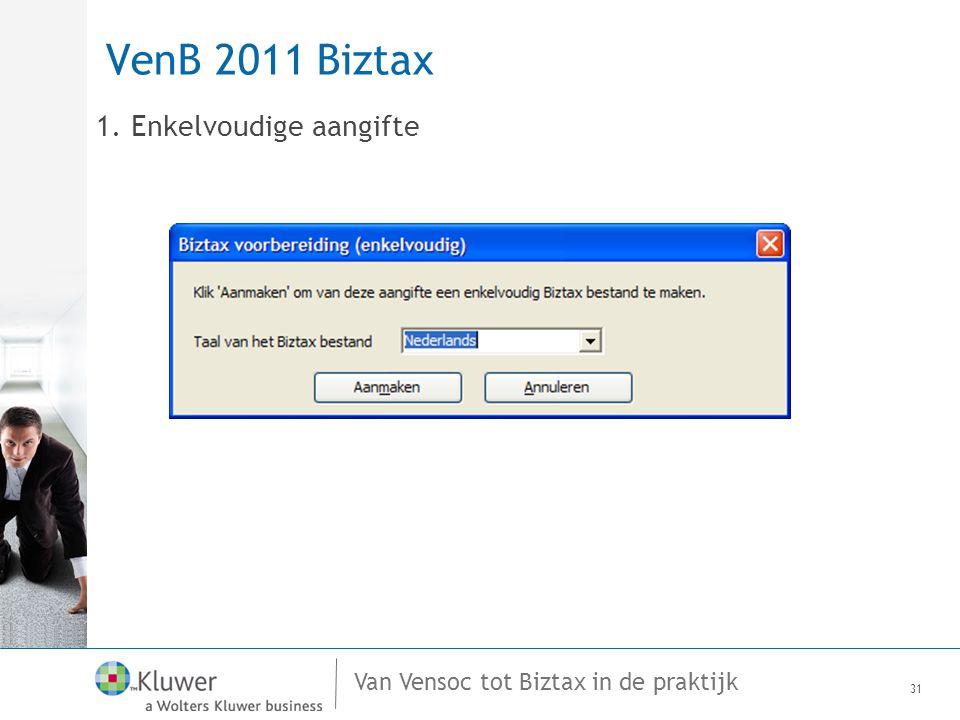 VenB 2011 Biztax 1. Enkelvoudige aangifte