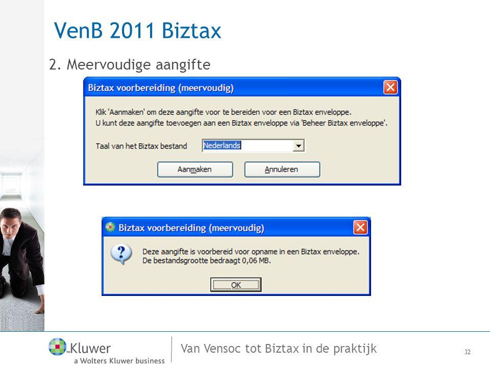 VenB 2011 Biztax 2. Meervoudige aangifte