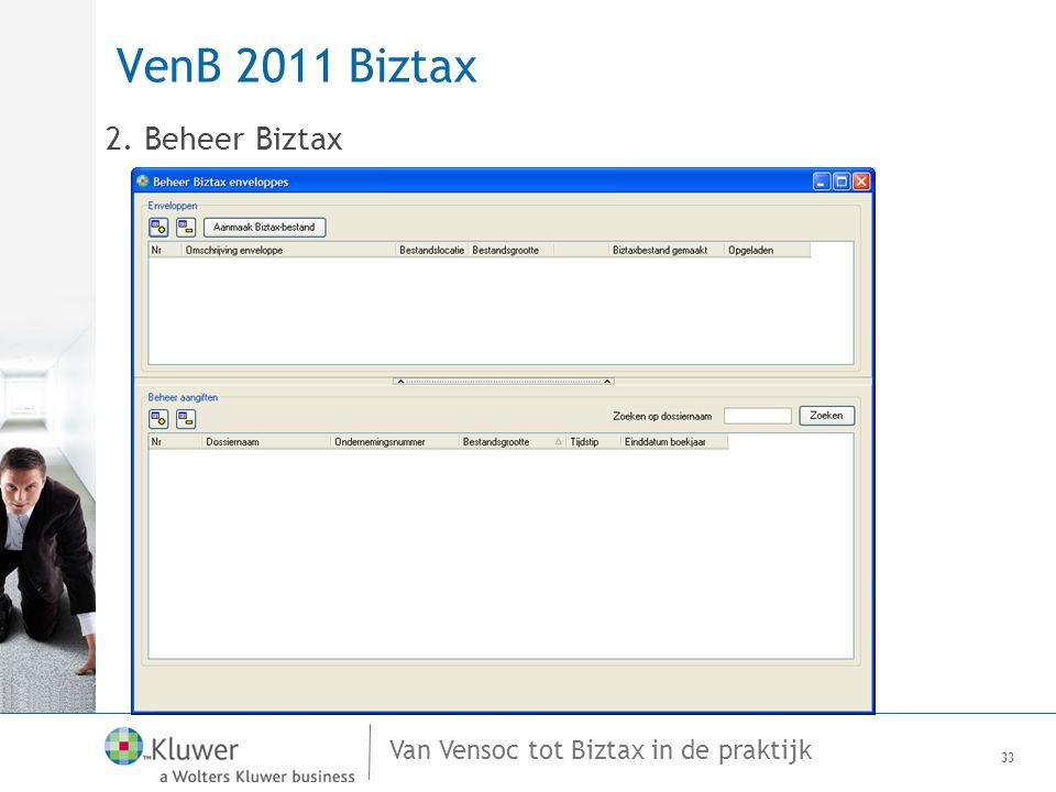 VenB 2011 Biztax 2. Beheer Biztax