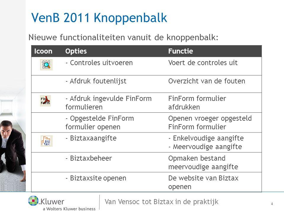 VenB 2011 Knoppenbalk Nieuwe functionaliteiten vanuit de knoppenbalk: