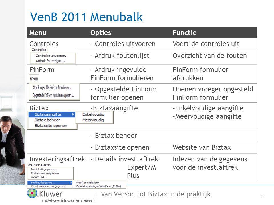 VenB 2011 Menubalk Menu Opties Functie Controles - Controles uitvoeren