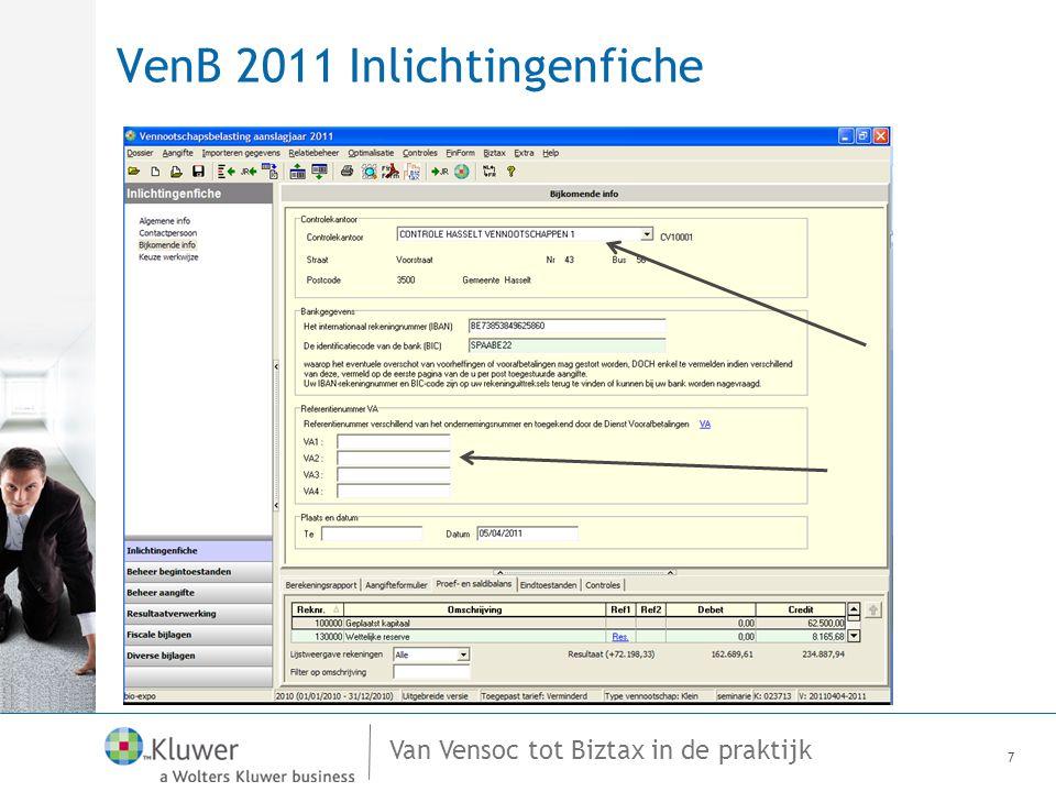VenB 2011 Inlichtingenfiche