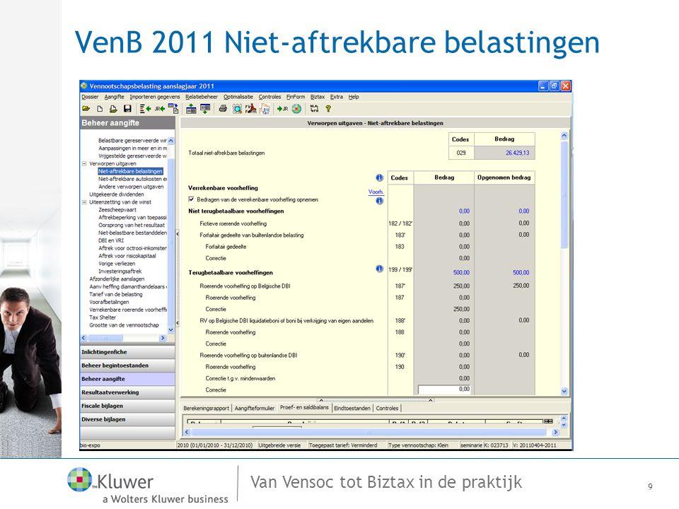 VenB 2011 Niet-aftrekbare belastingen