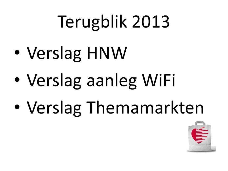 Terugblik 2013 Verslag HNW Verslag aanleg WiFi Verslag Themamarkten