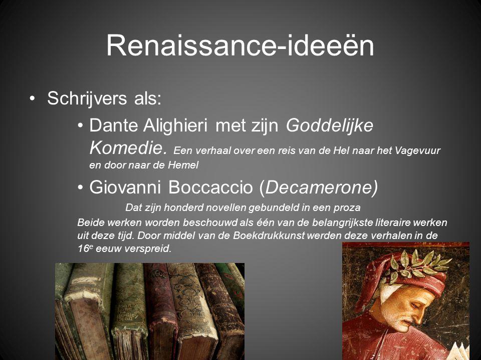 Renaissance-ideeën Schrijvers als: