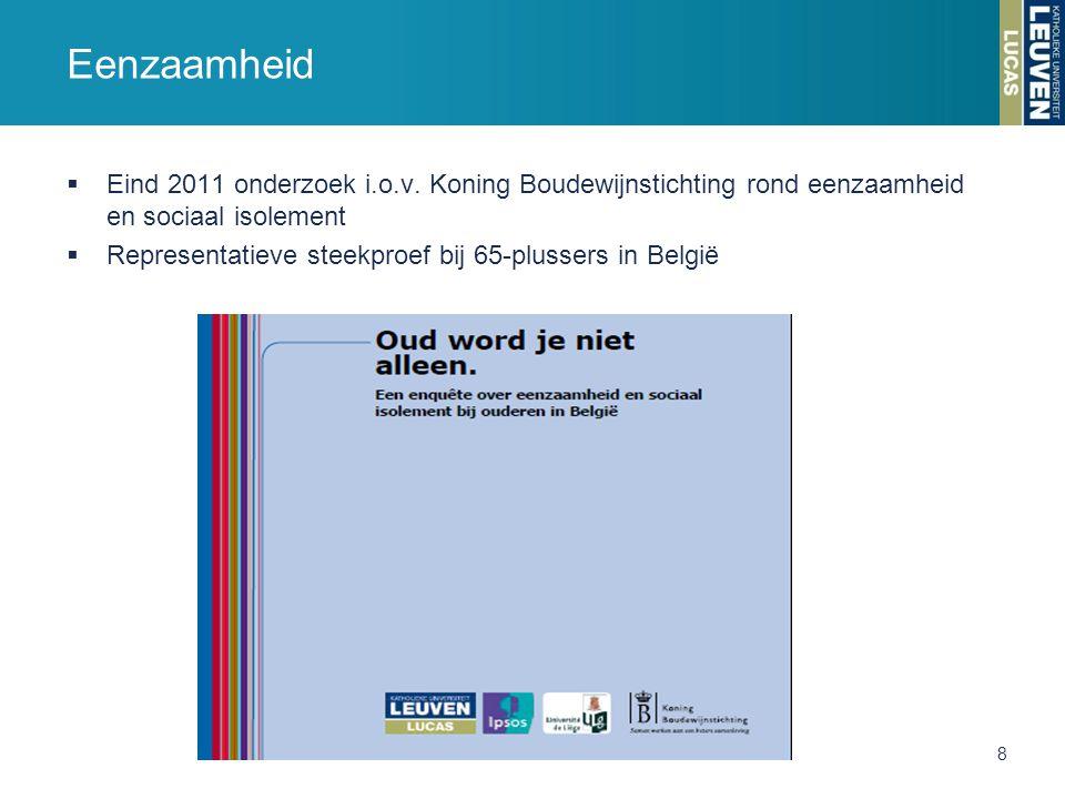 Eenzaamheid Eind 2011 onderzoek i.o.v. Koning Boudewijnstichting rond eenzaamheid en sociaal isolement.