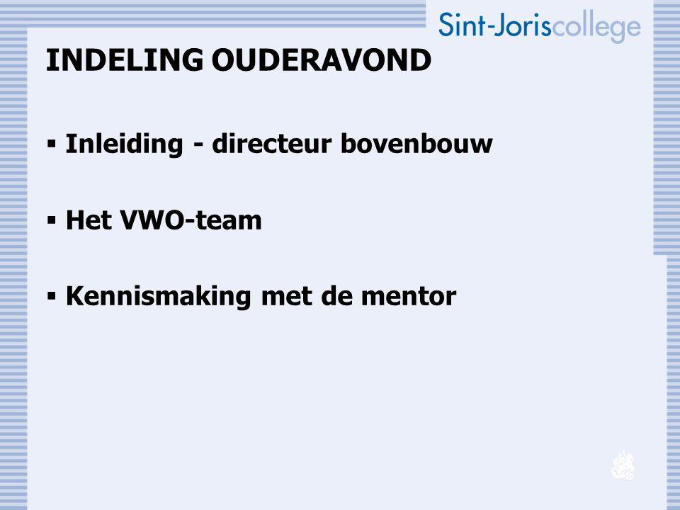 INDELING OUDERAVOND Inleiding - directeur bovenbouw Het VWO-team