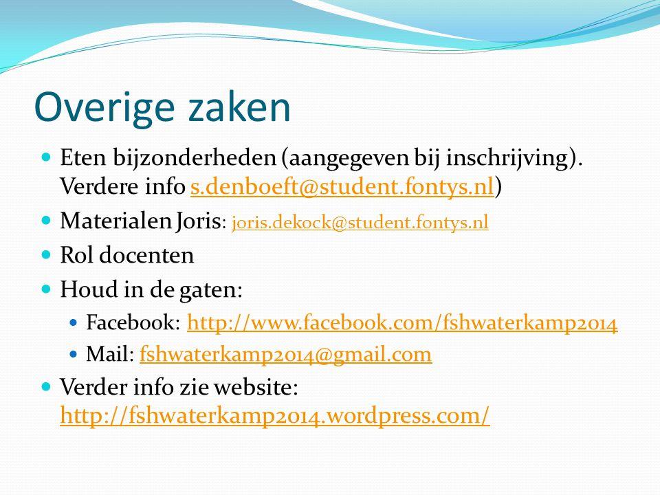 Overige zaken Eten bijzonderheden (aangegeven bij inschrijving). Verdere info s.denboeft@student.fontys.nl)