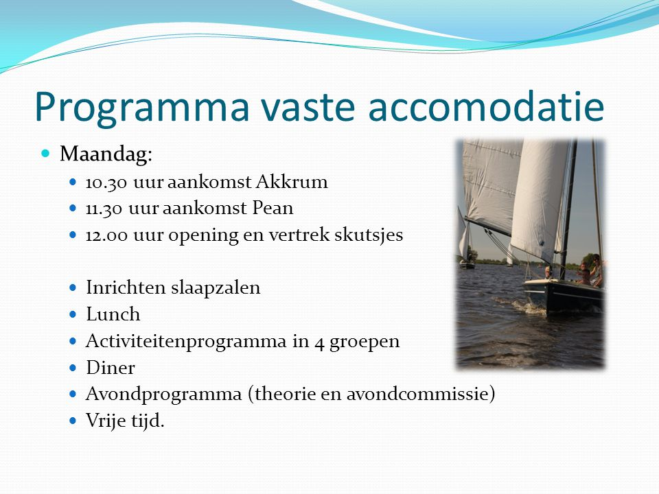 Programma vaste accomodatie