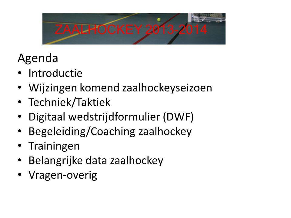 Agenda ZAALHOCKEY 2013-2014 Introductie