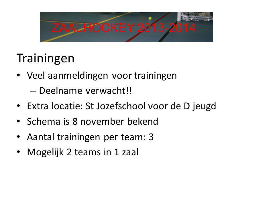 Trainingen ZAALHOCKEY 2013-2014 Veel aanmeldingen voor trainingen