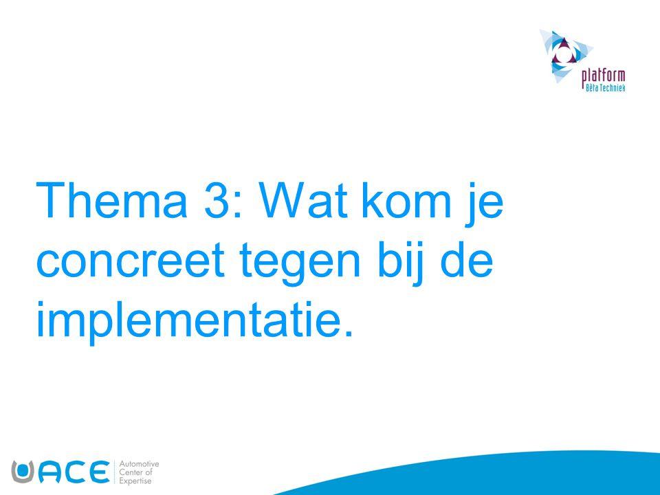 Thema 3: Wat kom je concreet tegen bij de implementatie.