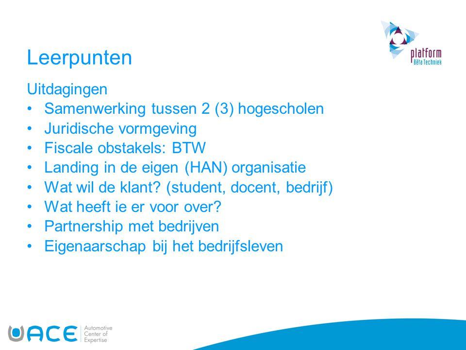 Leerpunten Uitdagingen Samenwerking tussen 2 (3) hogescholen