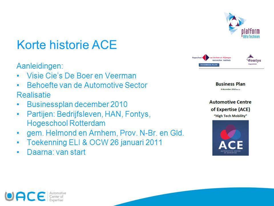 Korte historie ACE Aanleidingen: Visie Cie's De Boer en Veerman