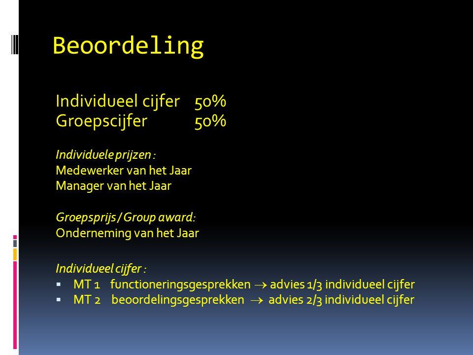 Beoordeling Individueel cijfer 50% Groepscijfer 50%