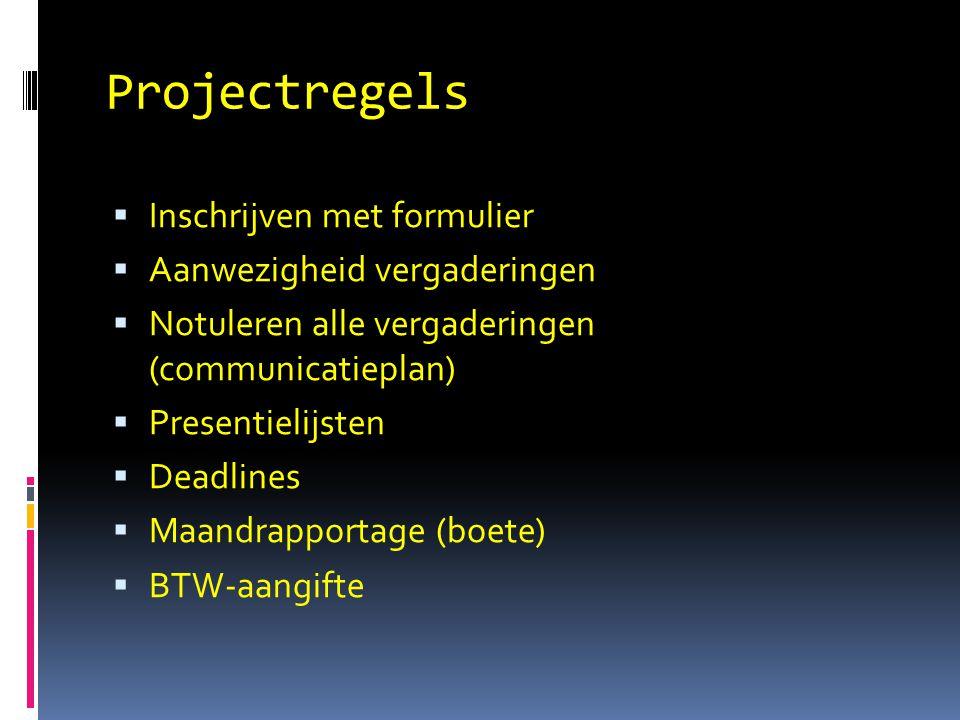 Projectregels Inschrijven met formulier Aanwezigheid vergaderingen
