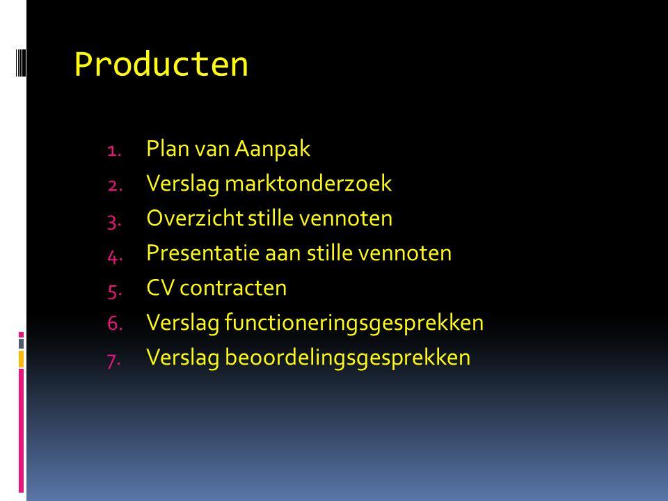 Producten Plan van Aanpak Verslag marktonderzoek