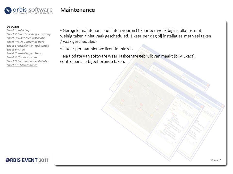 Maintenance Overzicht. Sheet 1: Inleiding. Sheet 2: Voorbereiding inrichting. Sheet 3: Uitvoeren installatie.