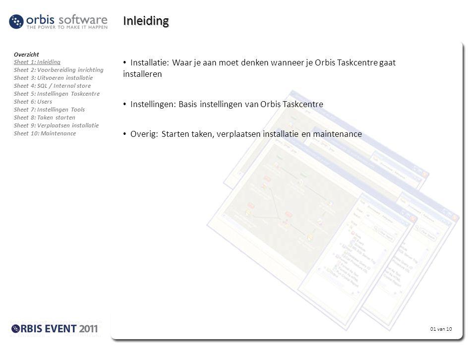 Inleiding Overzicht. Sheet 1: Inleiding. Sheet 2: Voorbereiding inrichting. Sheet 3: Uitvoeren installatie.