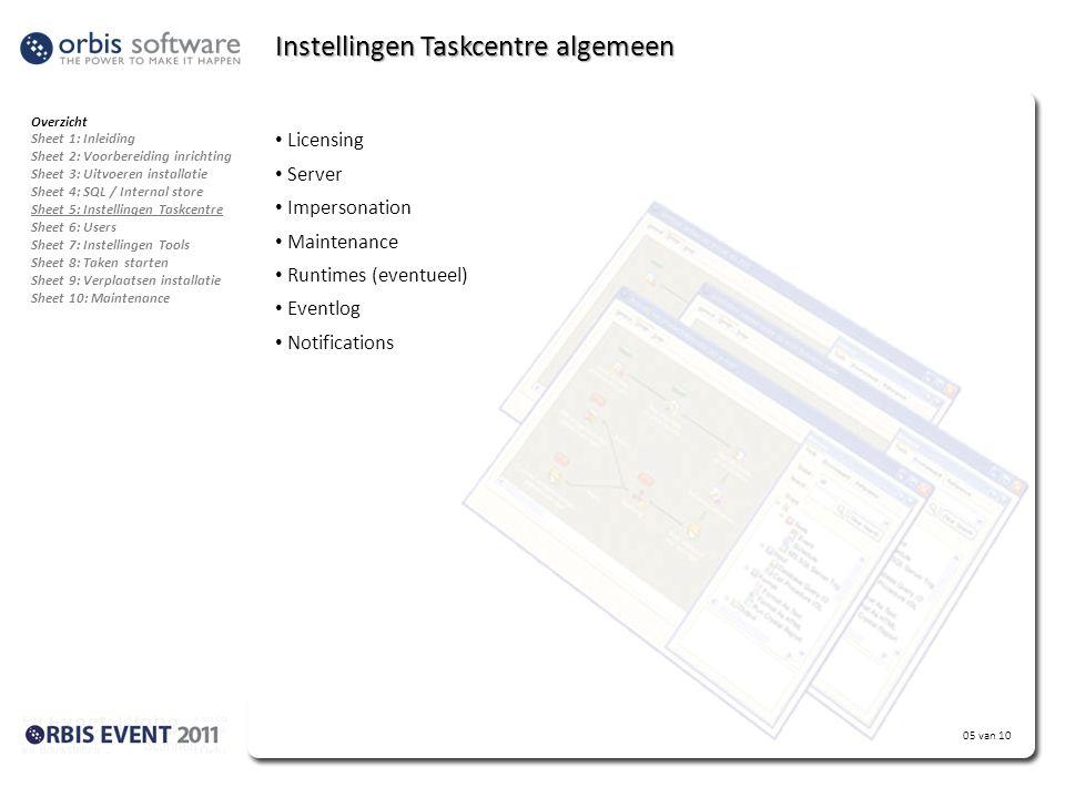 Instellingen Taskcentre algemeen