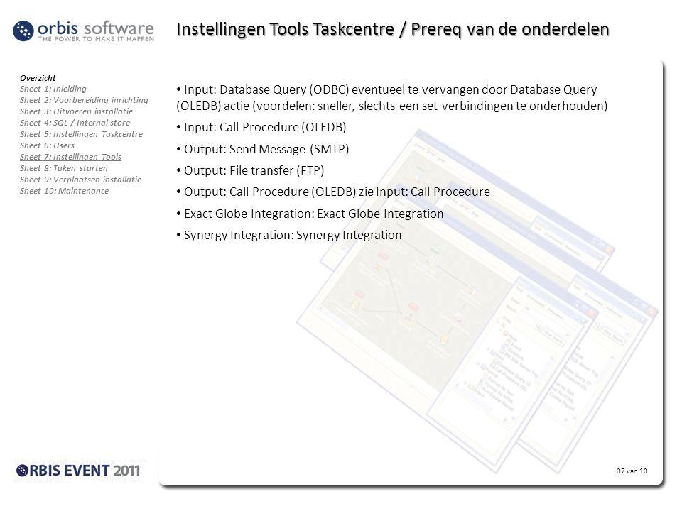 Instellingen Tools Taskcentre / Prereq van de onderdelen